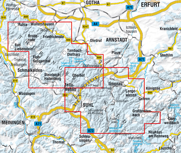 Thüringer Wald Karte.Kkv Mbh Rad Und Wanderkarten Wintersportkarte Thüringer Wald